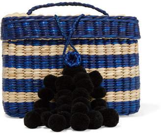 Nannacay - Baby Roge Pompom-embellished Striped Woven Raffia Tote - Blue