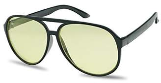 SunglassUP Wire Gold Metal Aviator Sunglasses with Yellow Night Driving Lenses - 60mm Frame