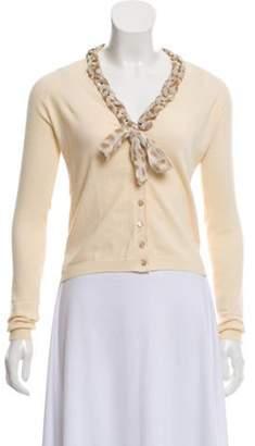 Blumarine Knit Button-Up Cardigan Beige Knit Button-Up Cardigan
