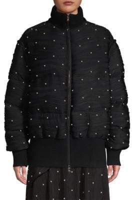 Prabal Gurung Stud Plisse Faux Shearling Collar Ribbed Puffer Jacket