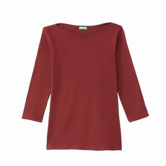 Benetton Boat Neck T-Shirt with 3/4 Length Sleeves