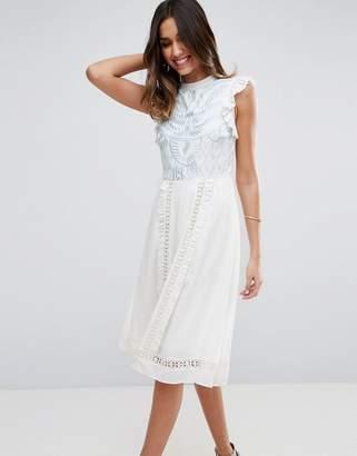 Asos Design PREMIUM Sleeveless Embroidered midi dress