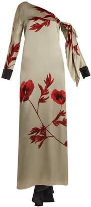 JOHANNA ORTIZ Floral-print one-shoulder silk dress