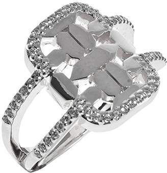 Babette Wasserman Women's Sterling Silver Round Clear Cubic Zirconia Istanbul Ring - of Size N