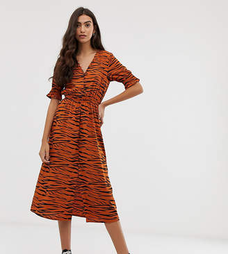 c2ff1116dc80 Influence Tall shirred sleeve midi dress with button down front in tiger  print