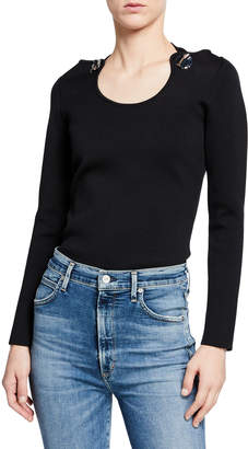 3.1 Phillip Lim Embellished Jersey Pullover Sweater w/ Halter Ties