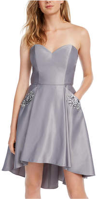 Blondie Nites Juniors' Strapless Embellished Fit & Flare Dress