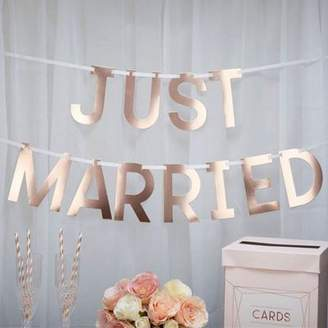 Csc Imports Ltd Geo Blush Rose Gold Just Married Wedding Bunting - 1.5M