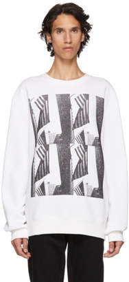 Calvin Klein White American Flag and Buildings Sweatshirt