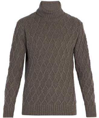 Inis Meáin Inis Meain - Trellis Cable Knit Wool Roll Neck Sweater - Mens - Grey