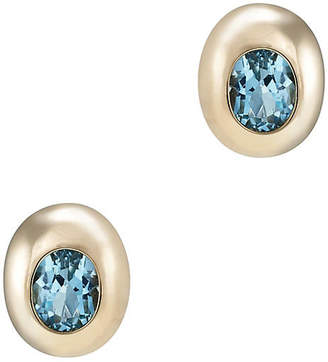 One Kings Lane Vintage 14k Gold Blue Topaz Stud Earrings - Precious & Rare Pieces