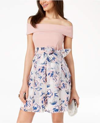 B. Darlin Juniors' Off-The-Shoulder Printed-Skirt Fit & Flare Dress