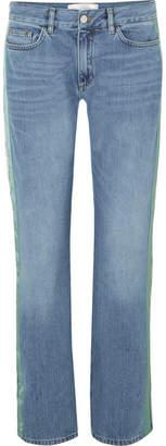Victoria Beckham Victoria, Striped Mid-rise Straight-leg Jeans - Mid denim