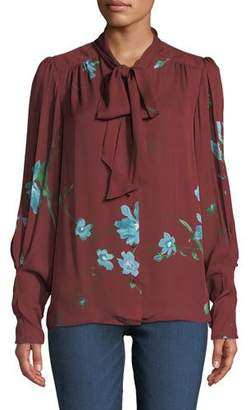 Joie Angeletta Floral Tie-Neck Silk Blouse