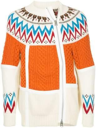 Sacai multi-knit zip jacket