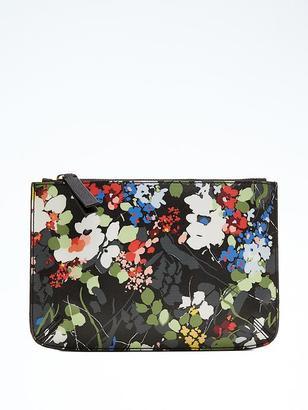 Floral Faux-Leather Zip Pouch $38 thestylecure.com