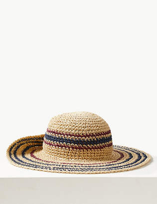 b21a5a2fc12 M S CollectionMarks and Spencer Crochet Look Striped Sun Hat