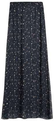 Adriana Degreas - Constellation Print Silk Georgette Skirt - Womens - Navy Multi