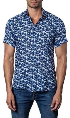 Jared Lang Trim Fit Floral Print Sport Shirt
