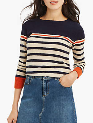 Oasis Kristie Stripe Knit Jumper, Multi/Orange