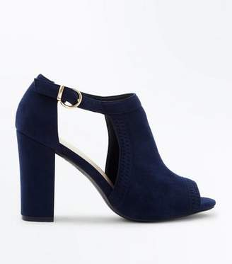 New Look Navy Comfort Flex Cut Out Peep Toe Heels