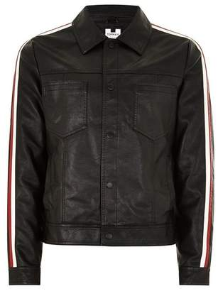 Topman Mens Black Side Stripe Faux Leather Jacket