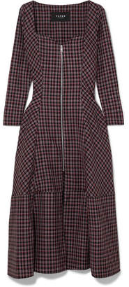 Paper London Lotus Checked Wool-blend Crepe Midi Dress - Burgundy