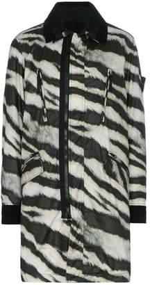 Stone Island logo detail zebra print reversible wool blend jacket