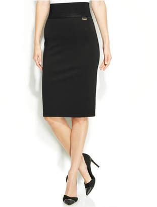 Calvin Klein Wide-Waistband Pencil Skirt