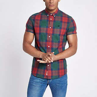 River Island Mens Red check wasp embroideRed shirt