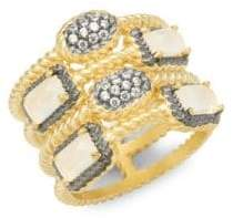 Freida Rothman Gilded Cable Sterling Silver, Crystal & Chalcedony Pavé Cage Ring