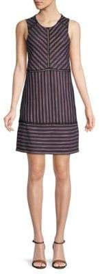 BCBGMAXAZRIA Striped Lace Shift Dress