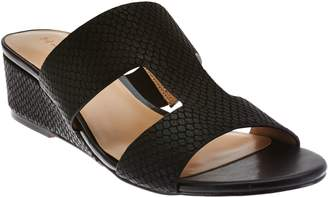 Halston H By H by Cut-out Leather Sandals with Mini Wedge - Regan