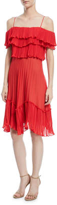 Halston Plisse Georgette Popover Ruffle Dress