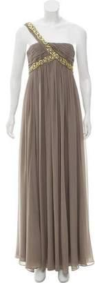 Marchesa One-Shoulder Embellished Evening Gown