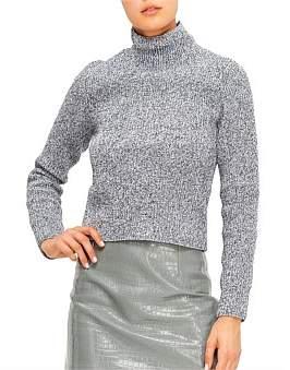 Tibi Tech Poly Sweater Two Way Cropped Cardigan
