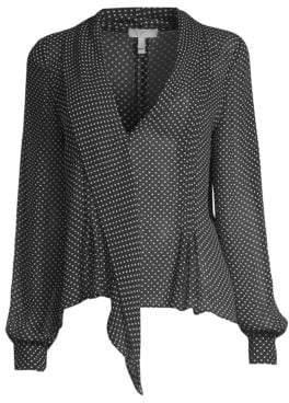 Joie Dowa Polka Dot Asymmetric Ruffle Silk Blouse