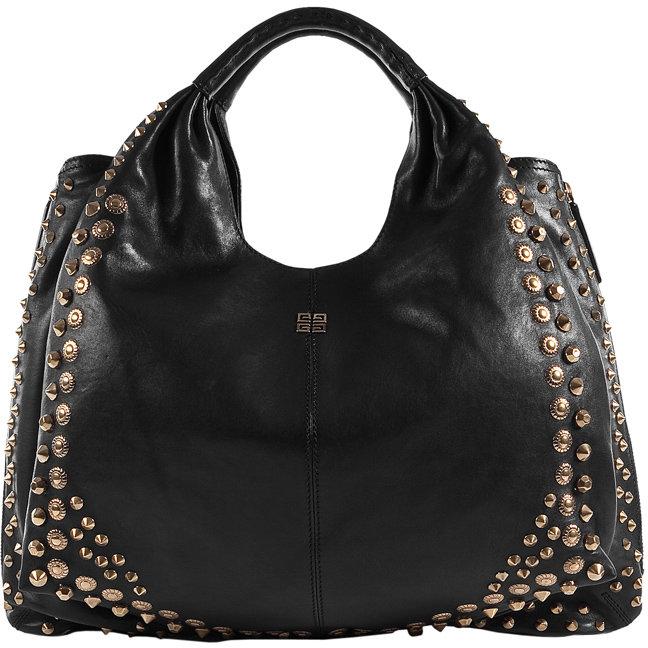 Givenchy Black/Gold Shoulder Bag With Metal Studs