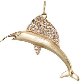 One Kings Lane Vintage 14K Marlin Fish Diamond Pendant - Precious & Rare Pieces