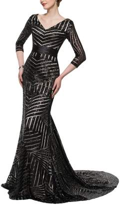 Monalia Womens V-Neck Sequined Evening Party Dresses 3/4 Sleeve Formal Gown EV5 Black