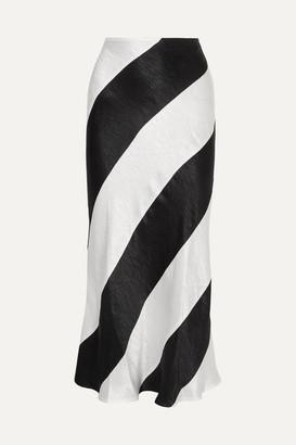Georgia Alice - Delilah Striped Crinkled-satin Maxi Skirt - Black