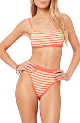 L-Space L Space French Cut High Waist Textured Swim Bottoms