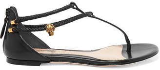 Alexander McQueen Embellished Leather Sandals - Black