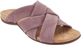 Vionic Suede Cross-Strap Slide Sandals - Juno