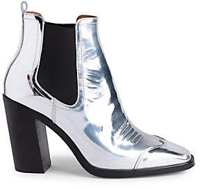 Off-White Women's Block Heel Metallic Cowboy Booties