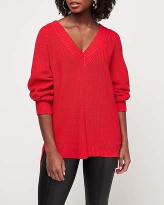 Express Oversized Shaker Knit Deep V-Neck Tunic Sweater