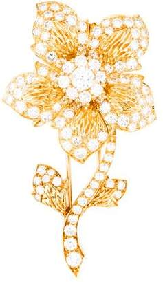 Van Cleef & Arpels 18K Diamond Flower Brooch