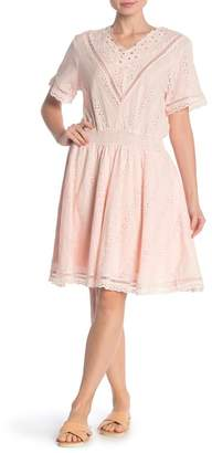 STELLAH Embroidered Eyelet Fit & Flare Dress