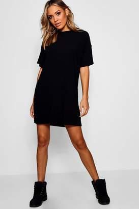 boohoo Oversized Rib Knit T-Shirt Dress