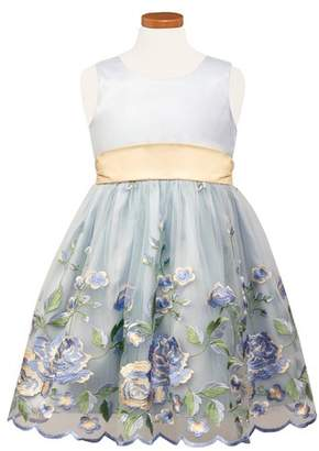 Sorbet Floral Embroidered Tulle & Organza Party Dress
